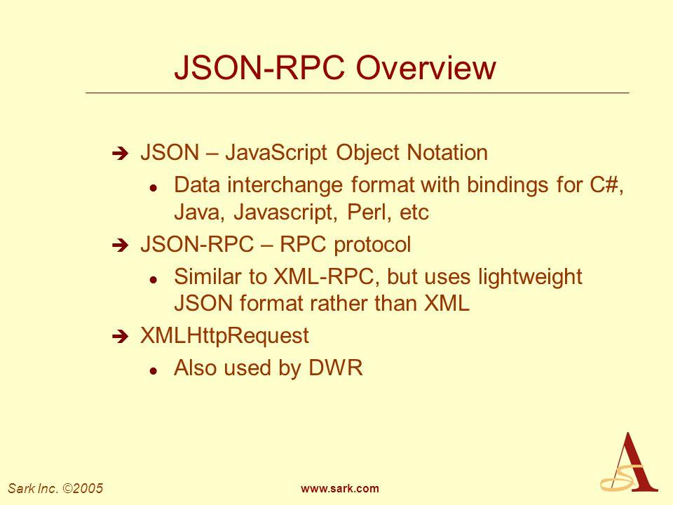 JSON-RPC Overview JSON – JavaScript Object Notation