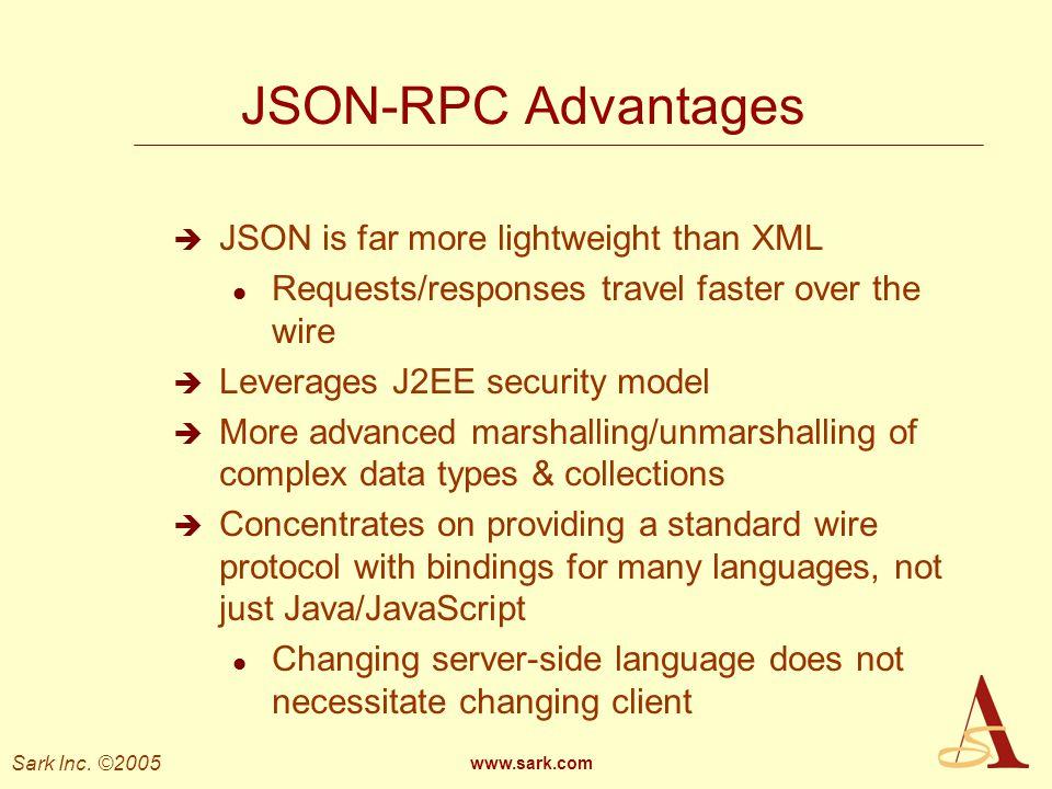 JSON-RPC Advantages JSON is far more lightweight than XML