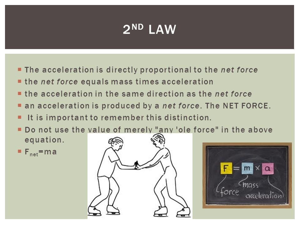 2nd law The acceleration is directly proportional to the net force