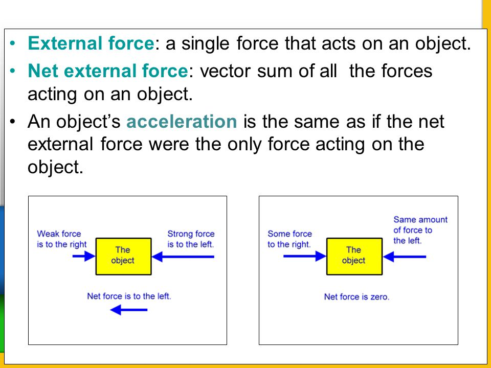 External force: a single force that acts on an object.