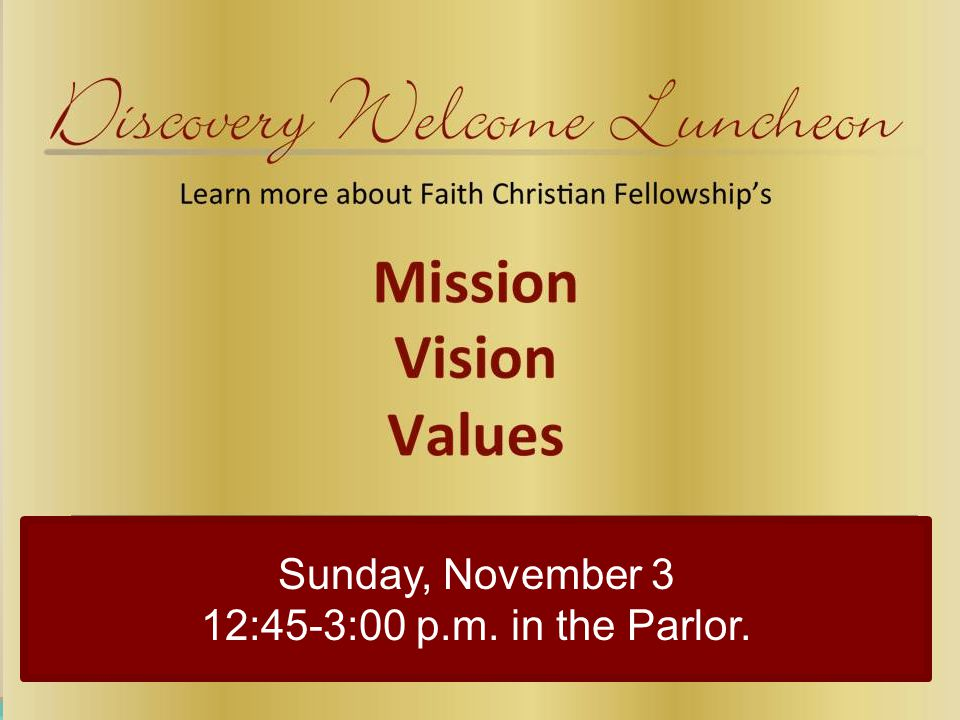 Sunday, November 3 12:45-3:00 p.m. in the Parlor.