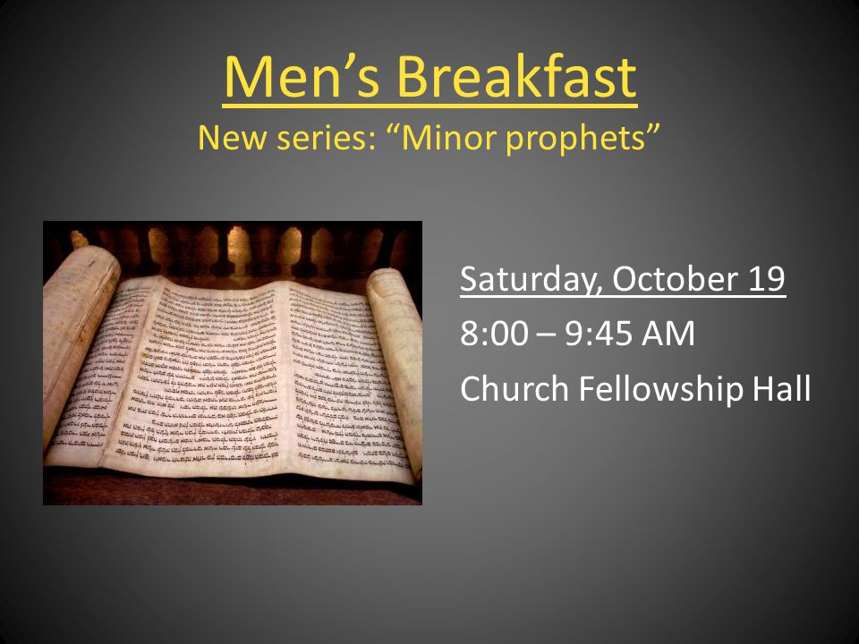 Men's Breakfast New series: Minor prophets