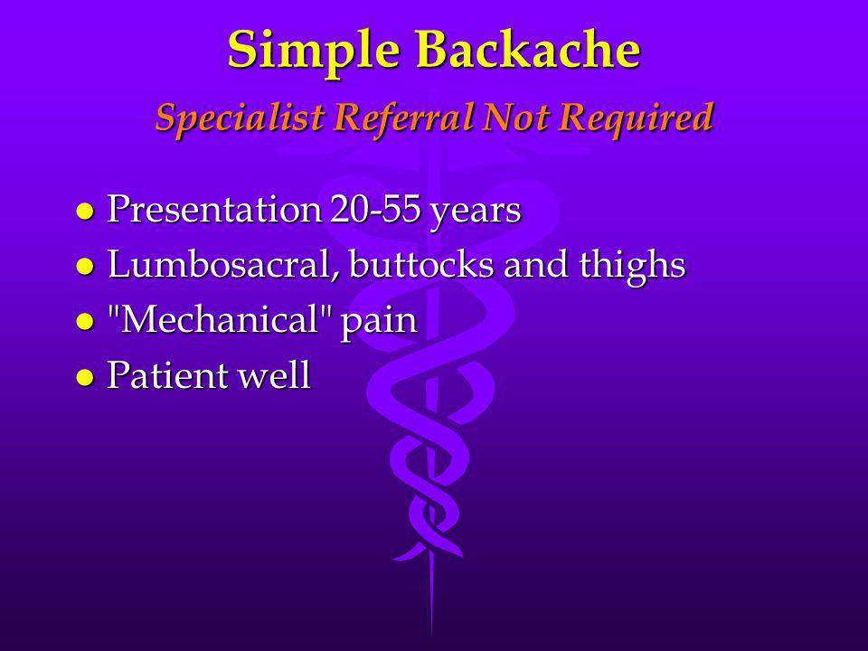 Simple Backache Specialist Referral Not Required