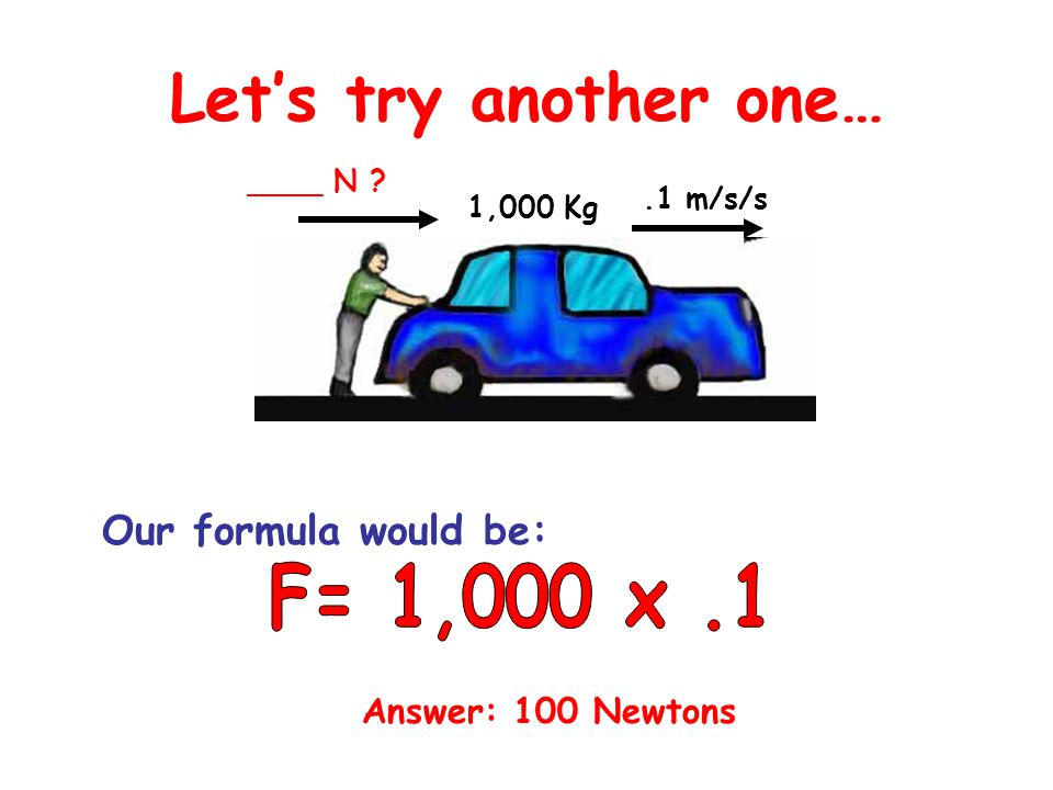 Let's try another one… F= 1,000 x .1 Our formula would be: