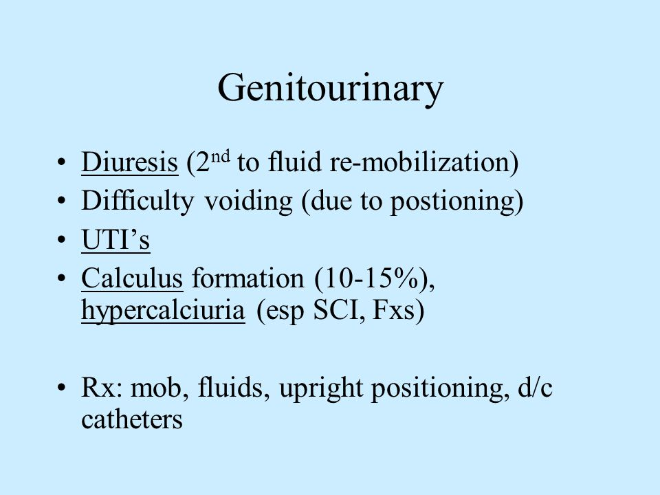 Genitourinary Diuresis (2nd to fluid re-mobilization)