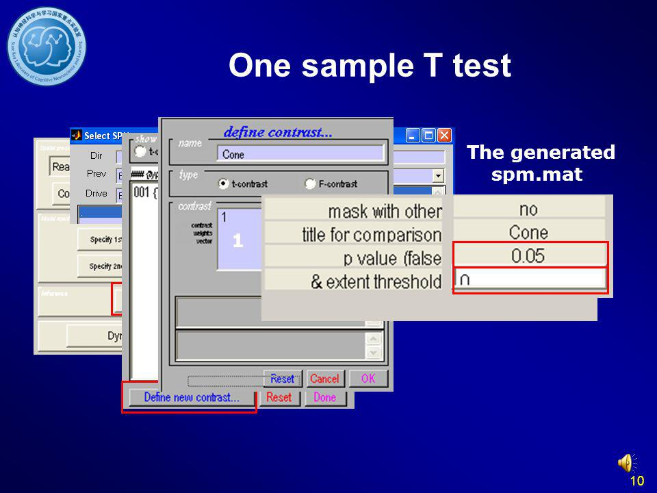 One sample T test The generated spm.mat 1 10