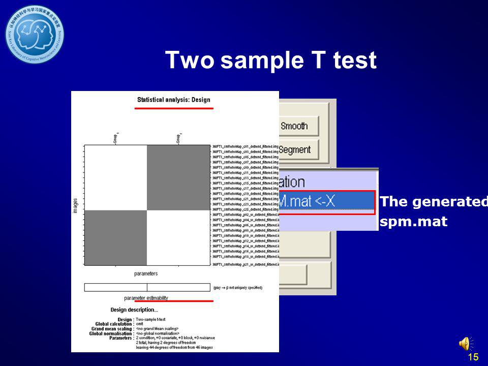 Two sample T test The generated spm.mat 15