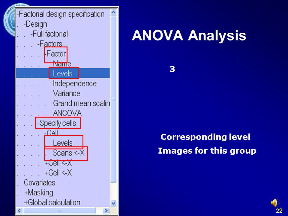 ANOVA Analysis 3 Corresponding level Images for this group 22