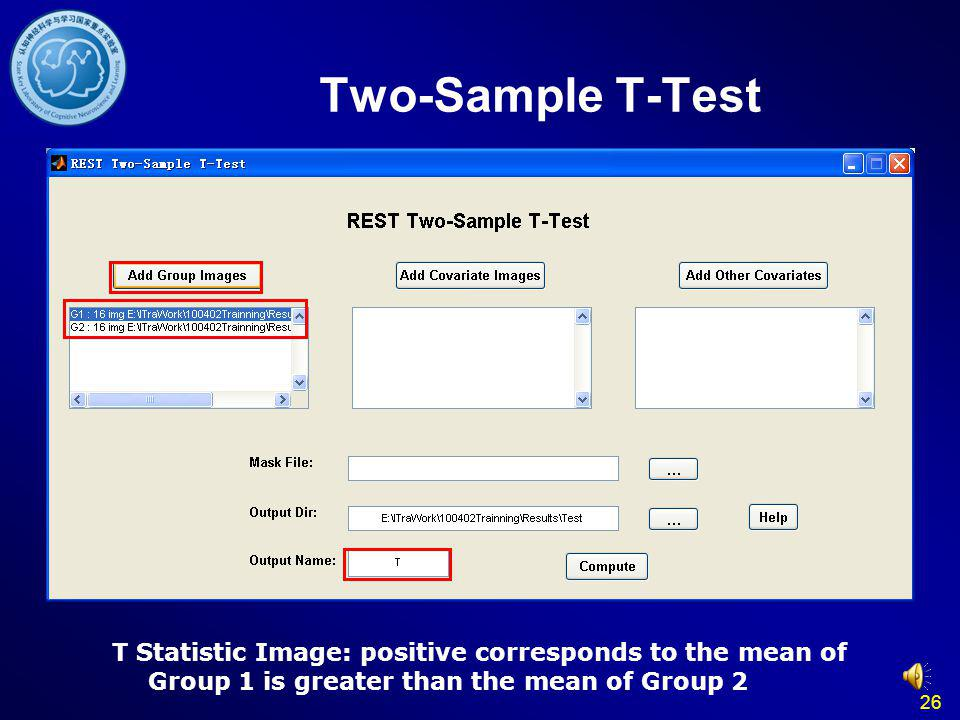 Two-Sample T-Test T Statistic Image: positive corresponds to the mean of Group 1 is greater than the mean of Group 2.
