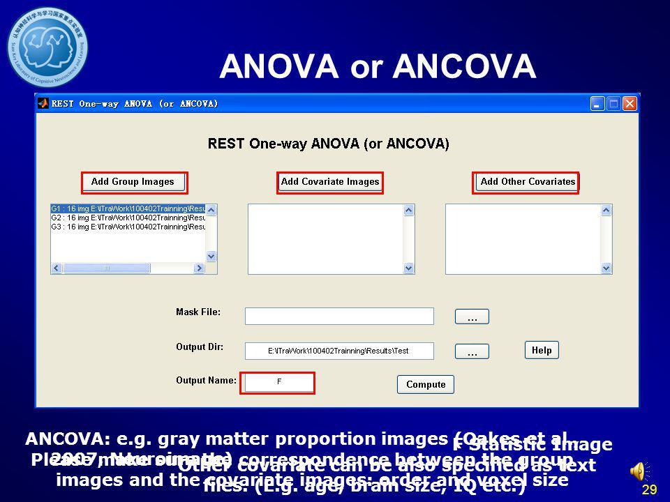 ANOVA or ANCOVA ANCOVA: e.g. gray matter proportion images (Oakes et al., 2007, Neuroimage) F Statistic Image.