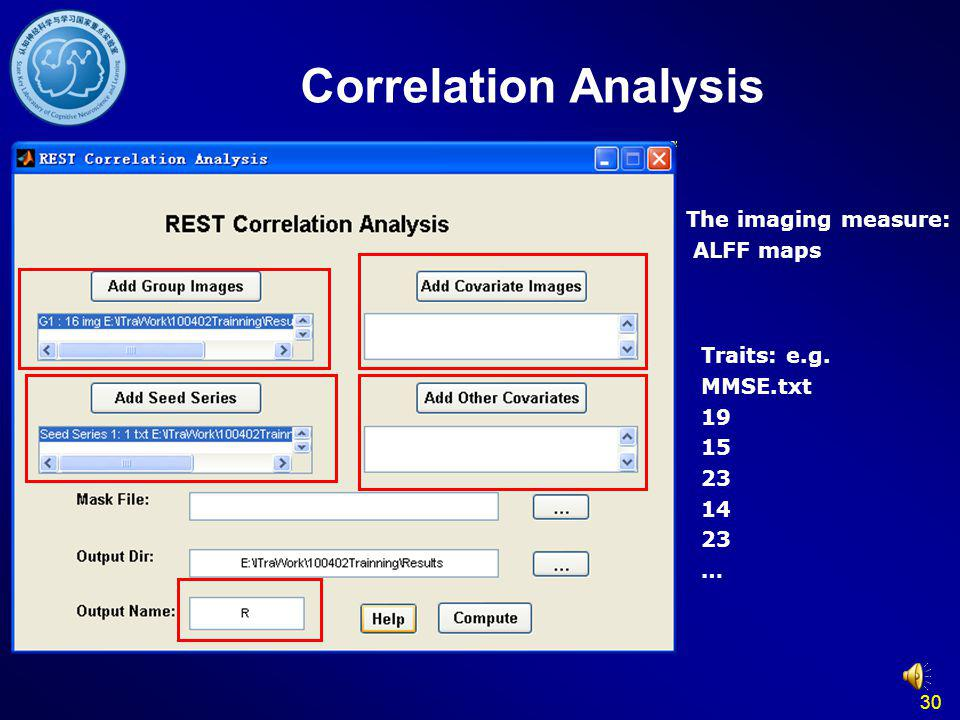 Correlation Analysis The imaging measure: ALFF maps Traits: e.g.