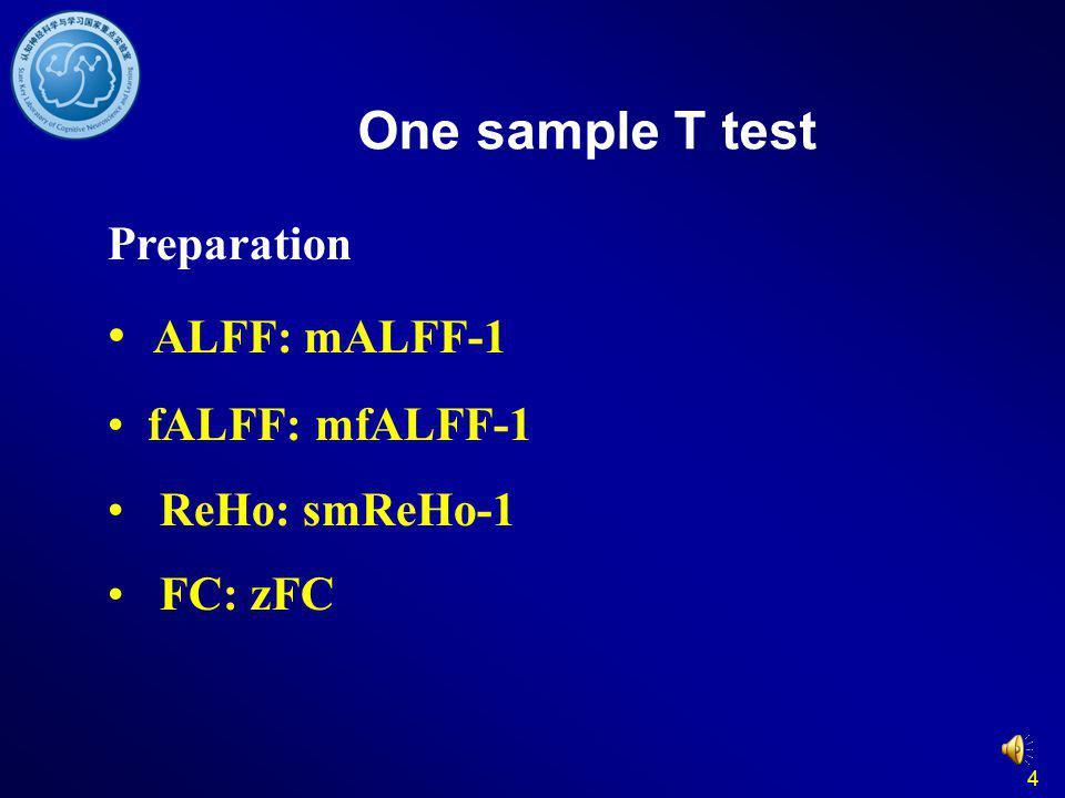 One sample T test ALFF: mALFF-1 Preparation fALFF: mfALFF-1