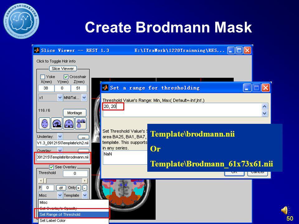 Create Brodmann Mask Template\brodmann.nii Or