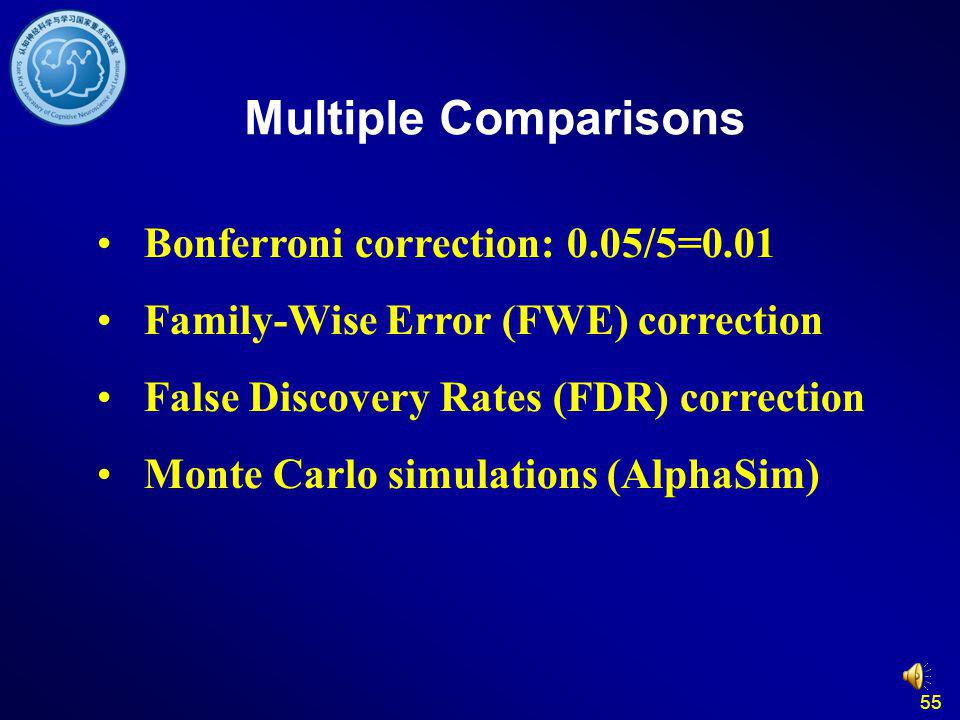 Multiple Comparisons Bonferroni correction: 0.05/5=0.01