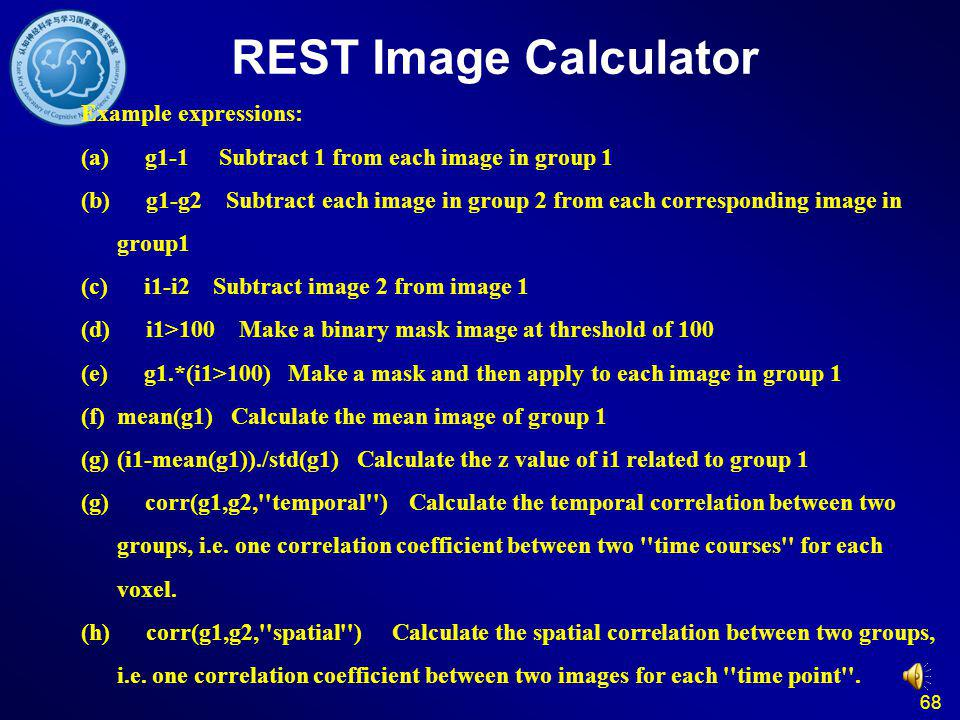 REST Image Calculator Example expressions: