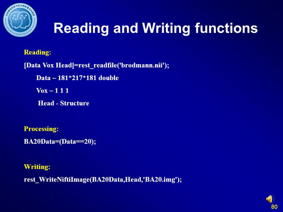 Reading and Writing functions