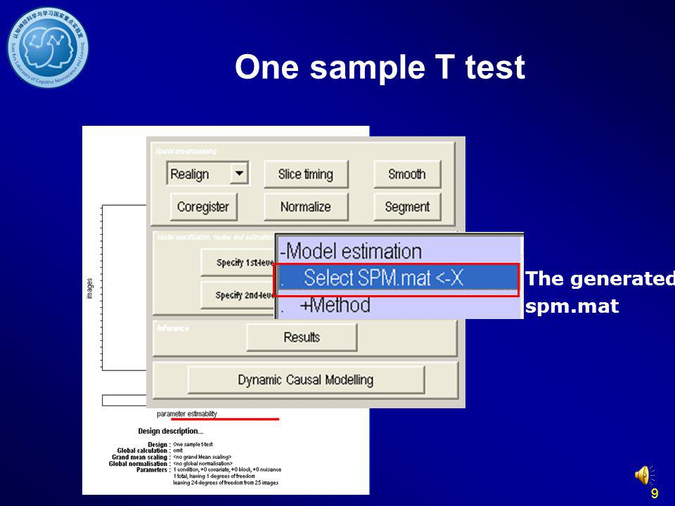 One sample T test The generated spm.mat 9