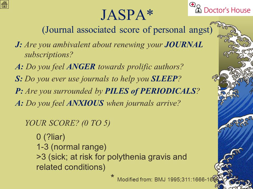 JASPA* (Journal associated score of personal angst)