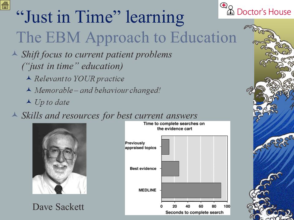 Just in Time learning The EBM Approach to Education