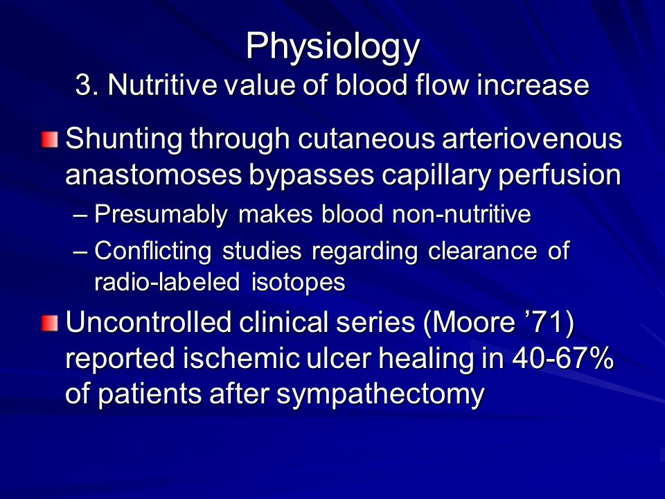 Physiology 3. Nutritive value of blood flow increase