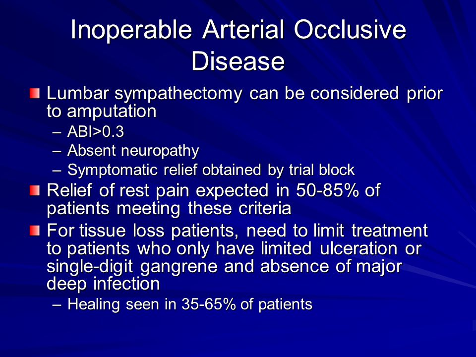 Inoperable Arterial Occlusive Disease