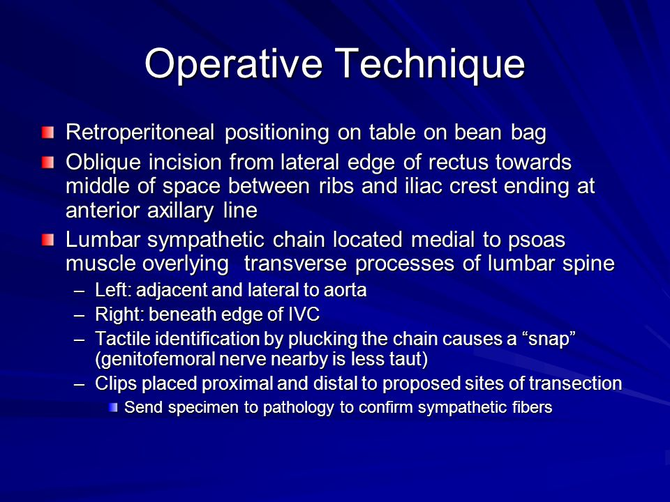 Operative Technique Retroperitoneal positioning on table on bean bag