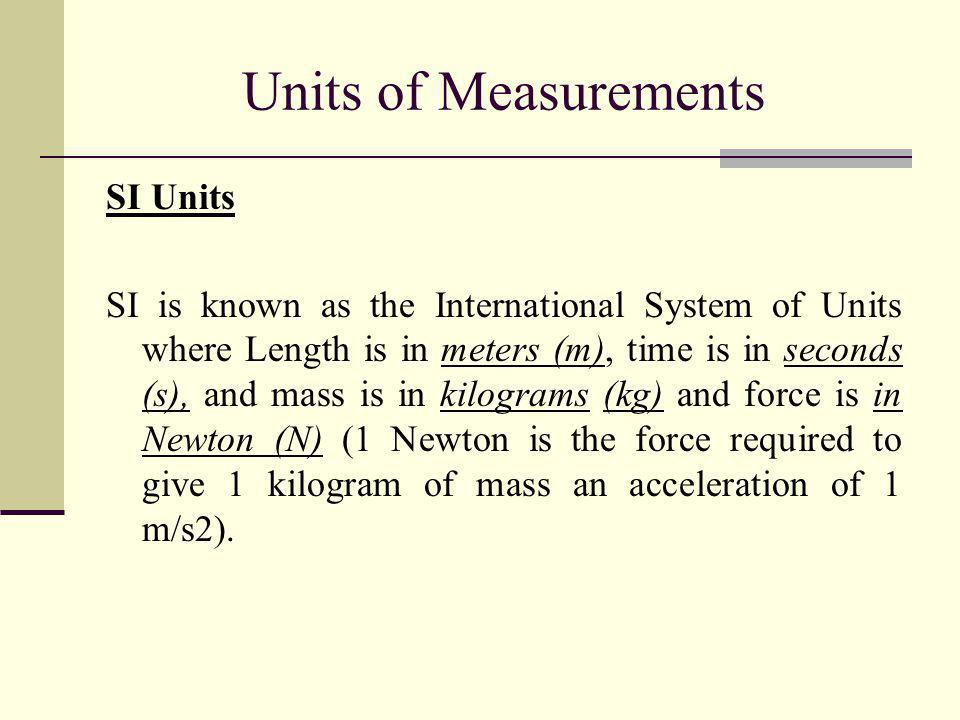 Units of Measurements SI Units
