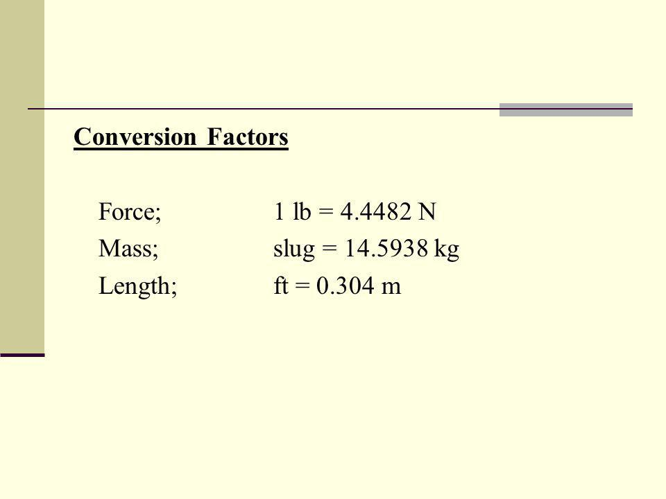 Conversion Factors Force; 1 lb = 4.4482 N Mass; slug = 14.5938 kg Length; ft = 0.304 m