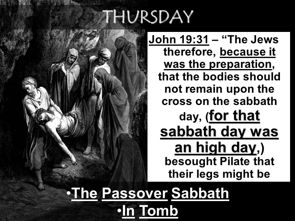 THURSDAY The Passover Sabbath In Tomb
