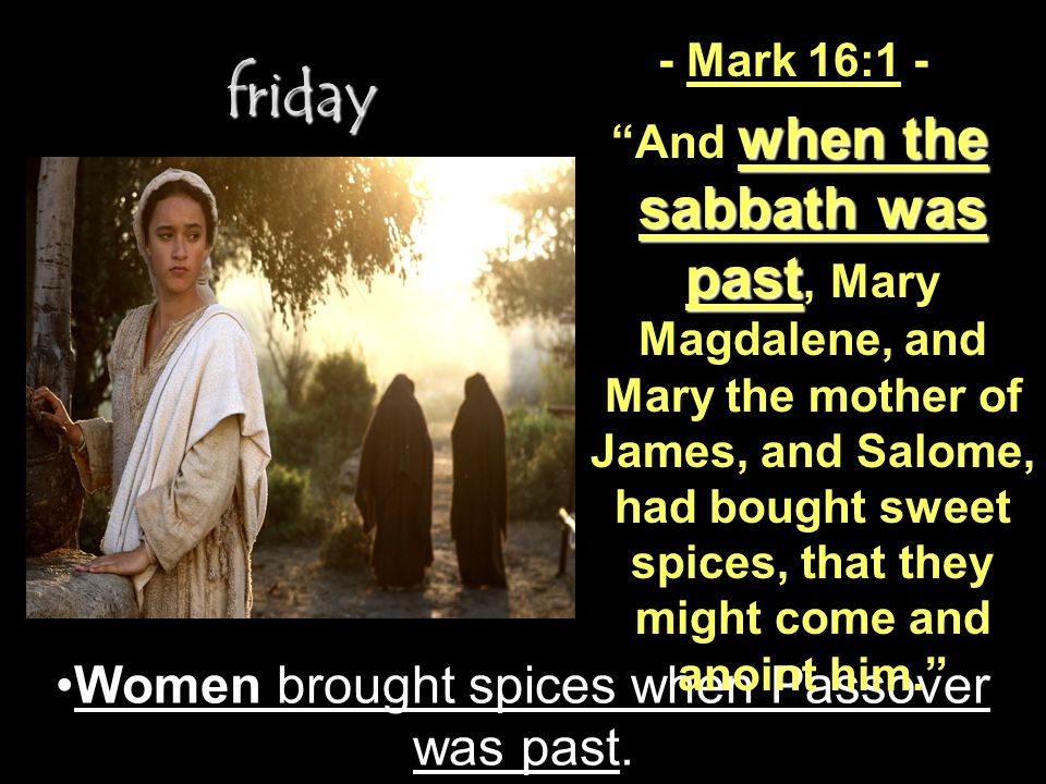 Women brought spices when Passover was past.