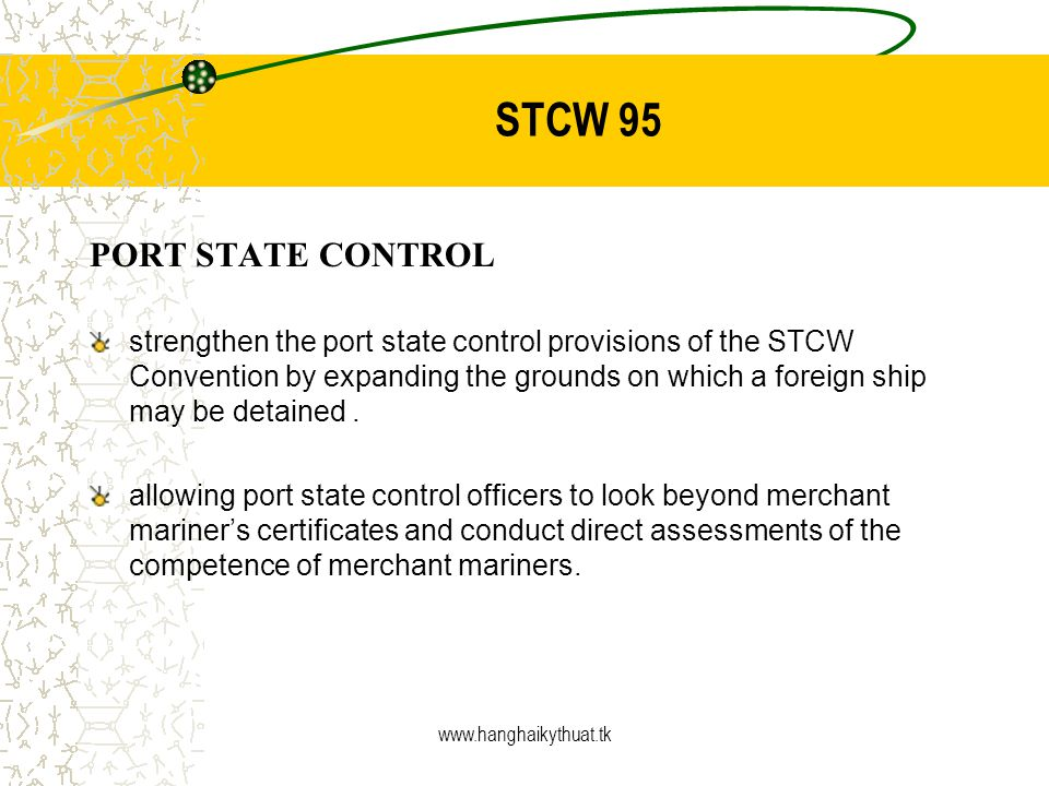 STCW 95 PORT STATE CONTROL
