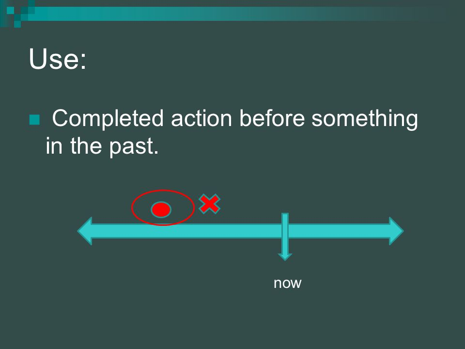 Use: Completed action before something in the past. now