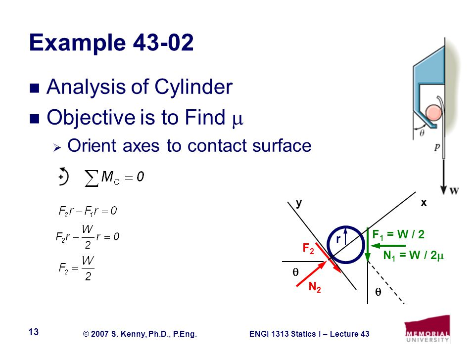 Example 43-02 Analysis of Cylinder Objective is to Find 