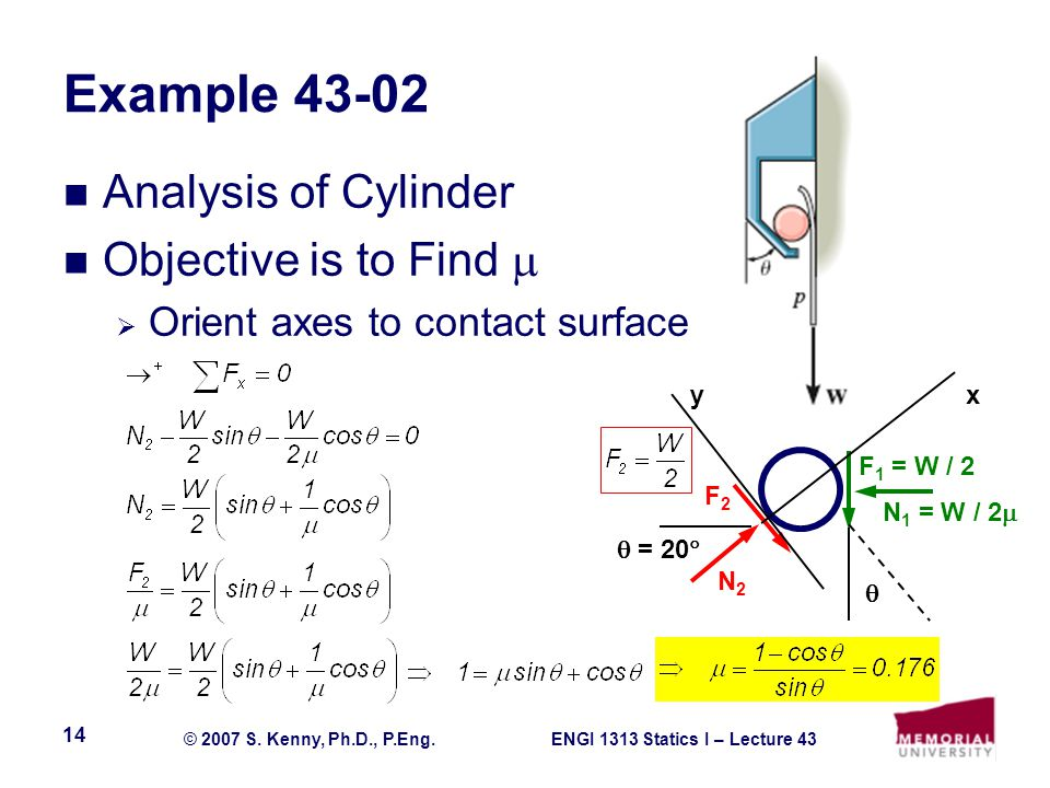 Example 43-02 Analysis of Cylinder Objective is to Find 