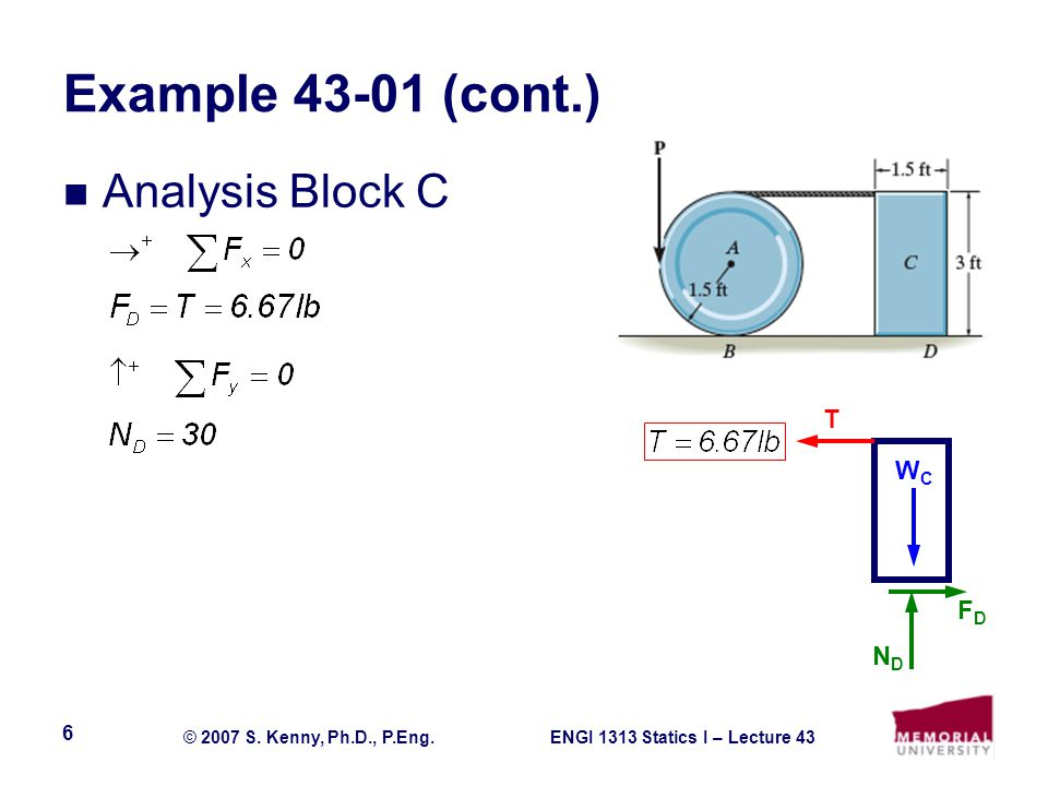 Example 43-01 (cont.) Analysis Block C T WC FD ND