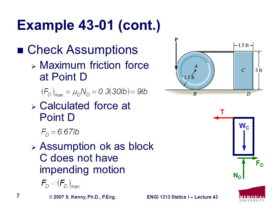 Example 43-01 (cont.) Check Assumptions
