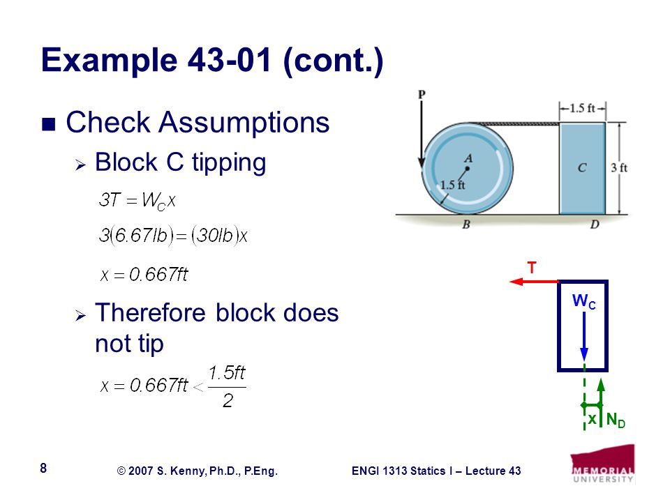 Example 43-01 (cont.) Check Assumptions Block C tipping