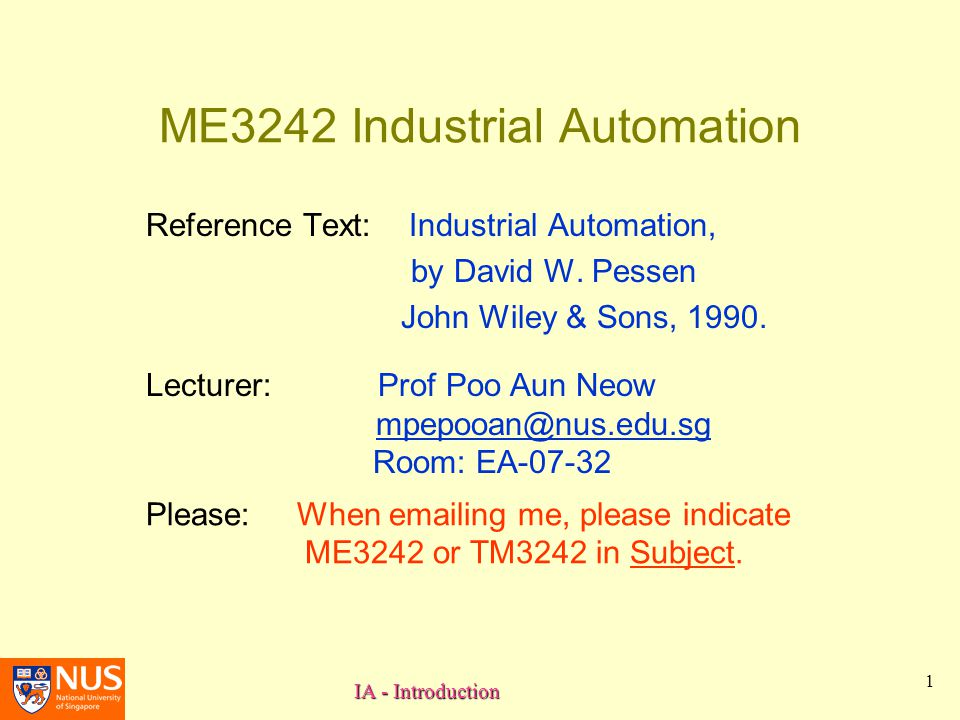 ME3242 Industrial Automation