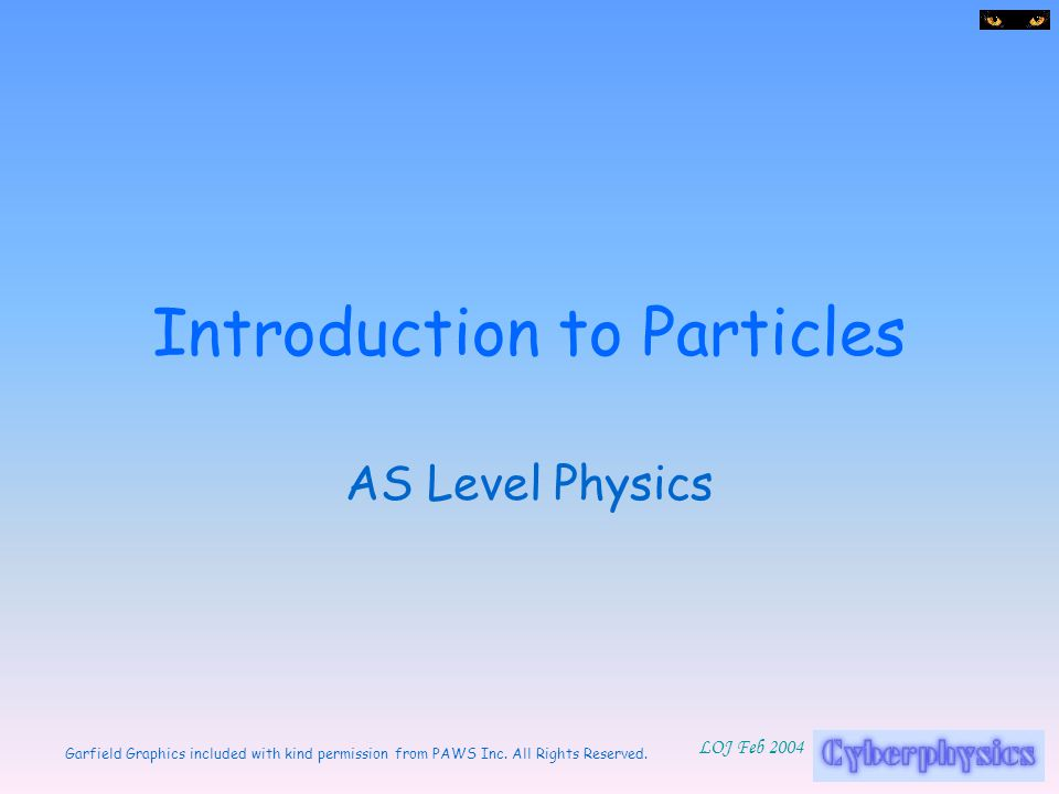 Introduction to Particles