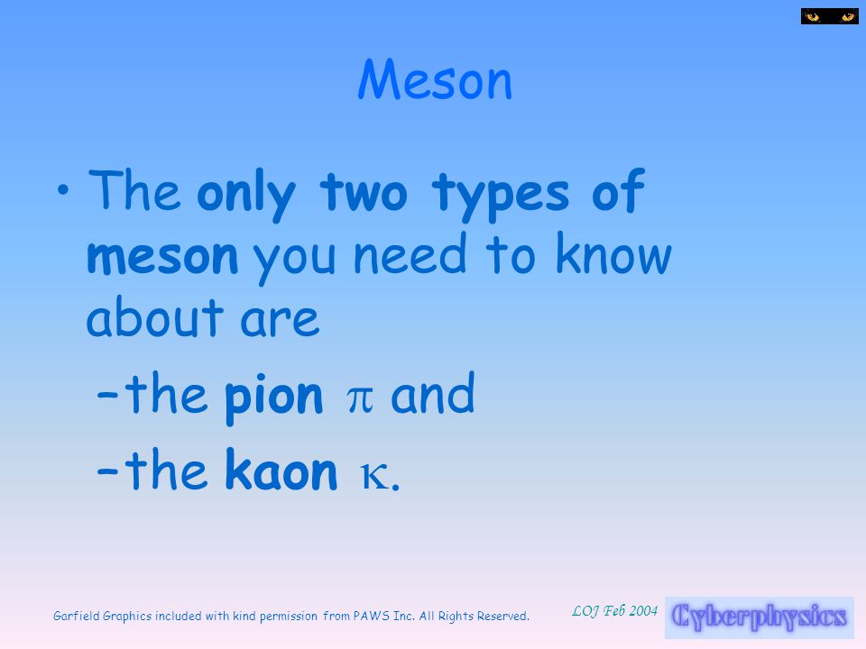 Meson The only two types of meson you need to know about are the pion p and the kaon k.