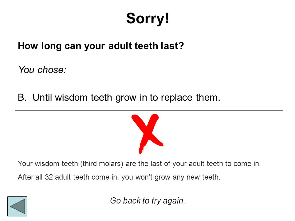 Sorry! How long can your adult teeth last You chose: