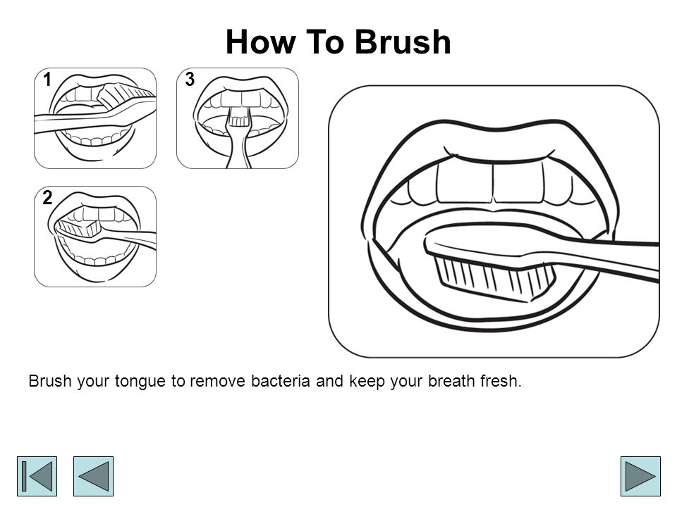 How To Brush 1 3 2 Brush your tongue to remove bacteria and keep your breath fresh.