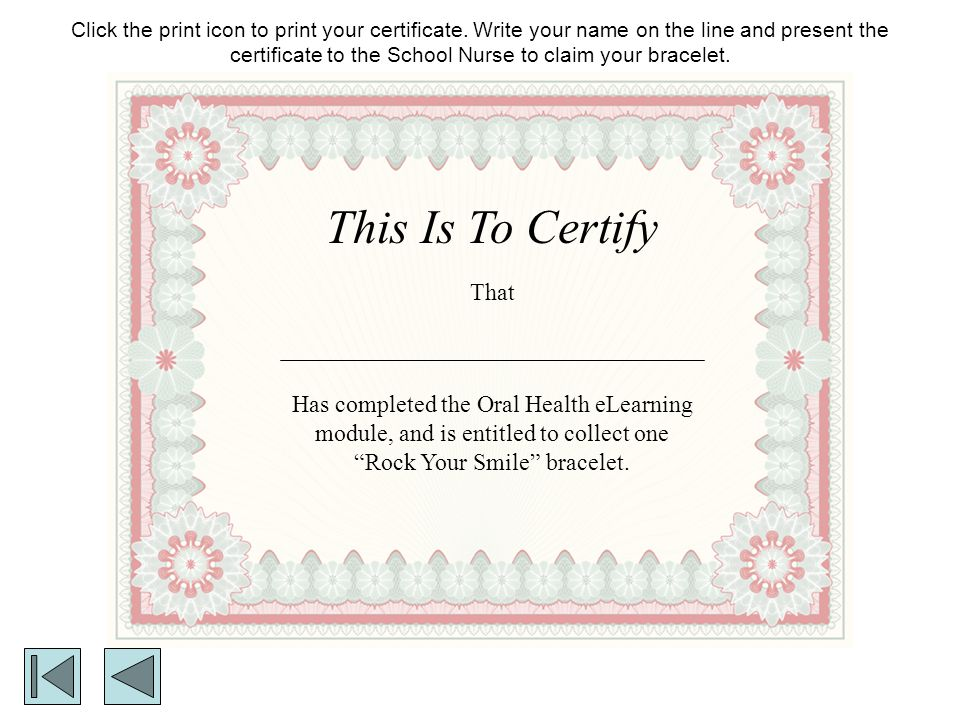Click the print icon to print your certificate