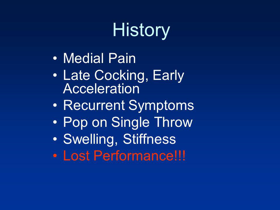 History Medial Pain Late Cocking, Early Acceleration