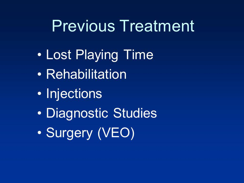 Previous Treatment Lost Playing Time Rehabilitation Injections