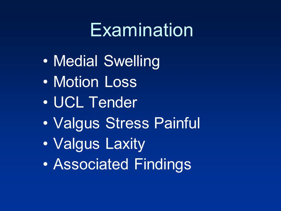 Examination Medial Swelling Motion Loss UCL Tender