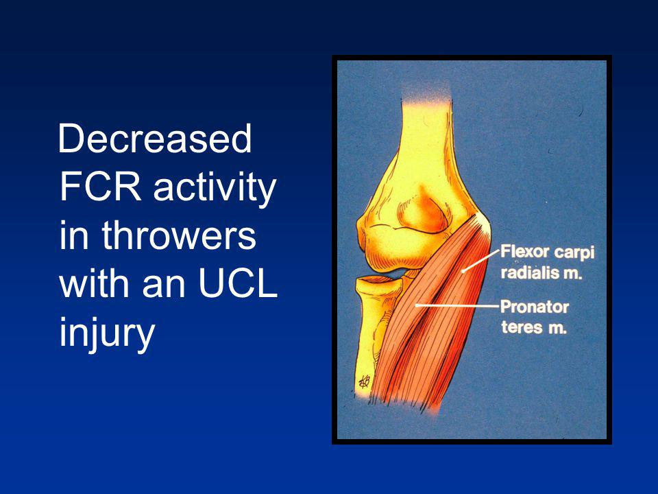 Decreased FCR activity in throwers with an UCL injury