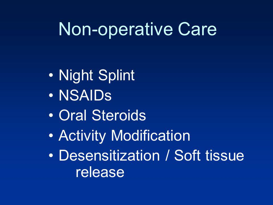 Non-operative Care Night Splint NSAIDs Oral Steroids