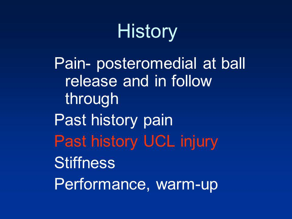 History Pain- posteromedial at ball release and in follow through