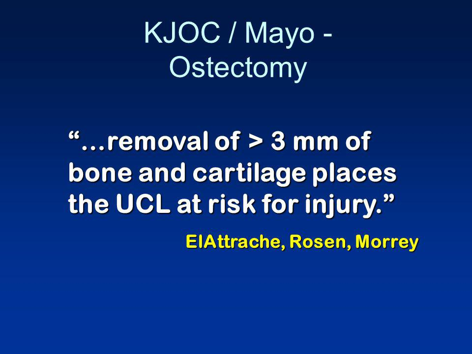 KJOC / Mayo - Ostectomy …removal of > 3 mm of bone and cartilage places the UCL at risk for injury.